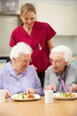 dietitian serving meal to patients